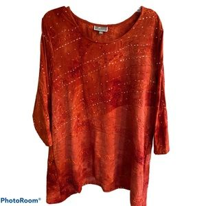 Beautiful Orange Sequin Top New With Tags